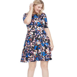 London Times Floral Fit + Flare Dress